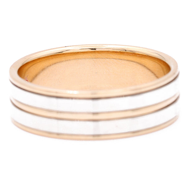 Two Tone White/Yellow 14 Karat Band Wedding Band