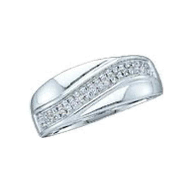 10kt White Gold Womens Round Diamond Contour Row Band Ring 1/6 Cttw