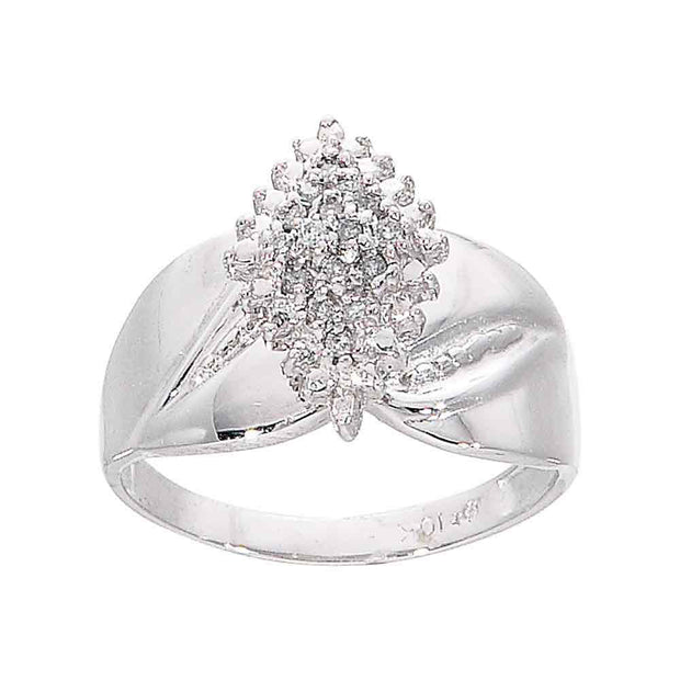 10kt White Gold Womens Round Diamond Cluster Ring 1/8 Cttw