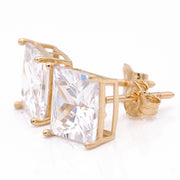 Yellow Gold 14K Earrings Princess Cut Cz