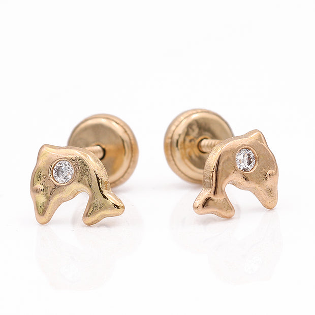 Yellow Gold 14K Earrings Dolphins CZ