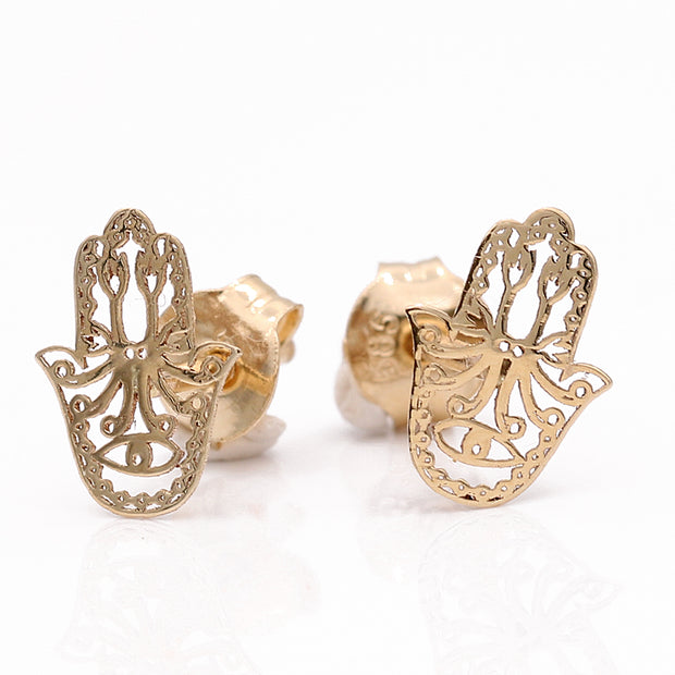 Yellow Gold 14K Earrings Hamsa Hand