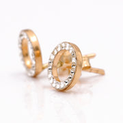 Yellow Gold 14K Earrings Round with CZ