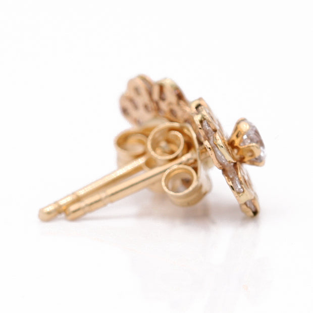 Yellow Gold 14K Earrings Flowers With CZ
