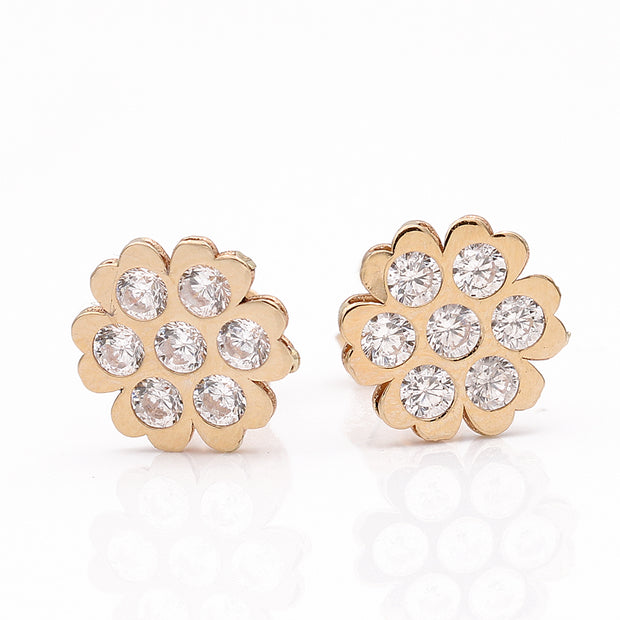 Yellow Gold 14K Flower Earring With Cz