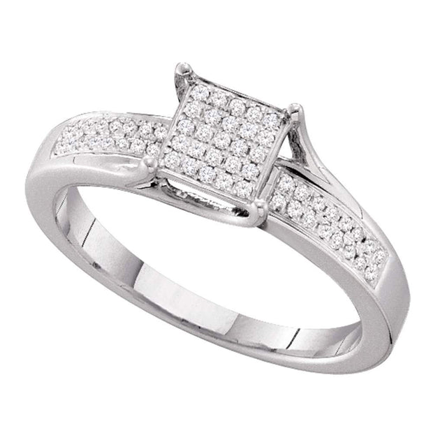 10kt White Gold Womens Round Diamond Elevated Square Cluster Ring 1/6 Cttw
