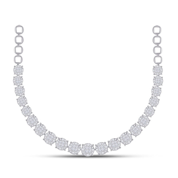 14kt White Gold Womens Princess Diamond Cocktail Cluster Necklace 10.00 Cttw
