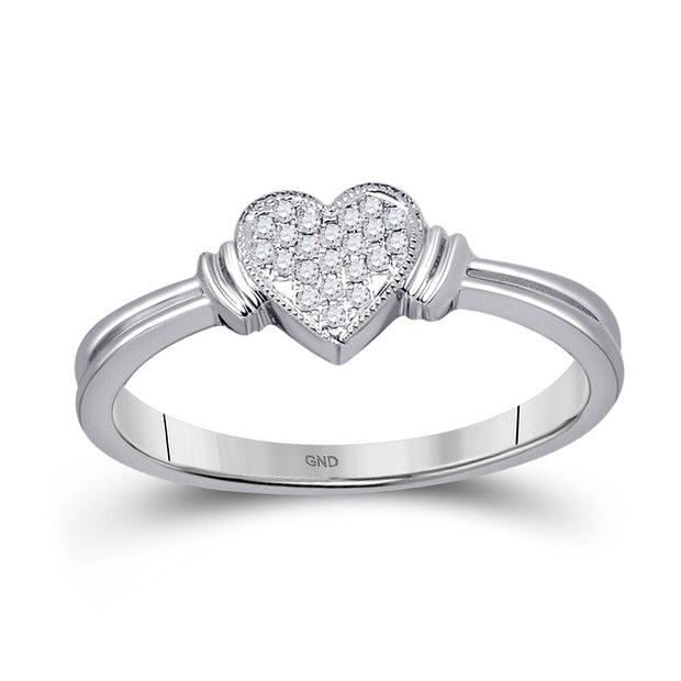 10kt White Gold Womens Round Diamond Heart Cluster Ring 1/12 Cttw