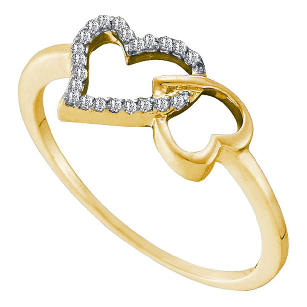 10kt Yellow Gold Womens Round Diamond Joined Linked Heart Ring 1/12 Cttw