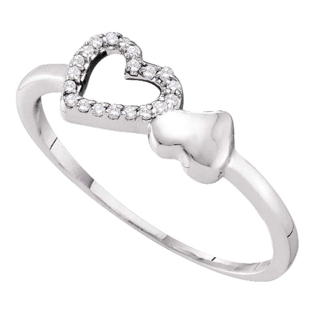 10kt White Gold Womens Round Diamond Slender Double Heart Ring 1/20 Cttw