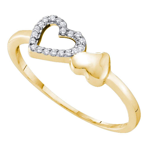 10kt Yellow Gold Womens Round Diamond Sloender Double Heart Ring 1/20 Cttw