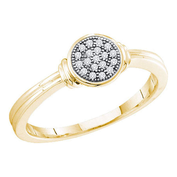 10kt Yellow Gold Womens Round Diamond Circle Cluster Ring 1/20 Cttw