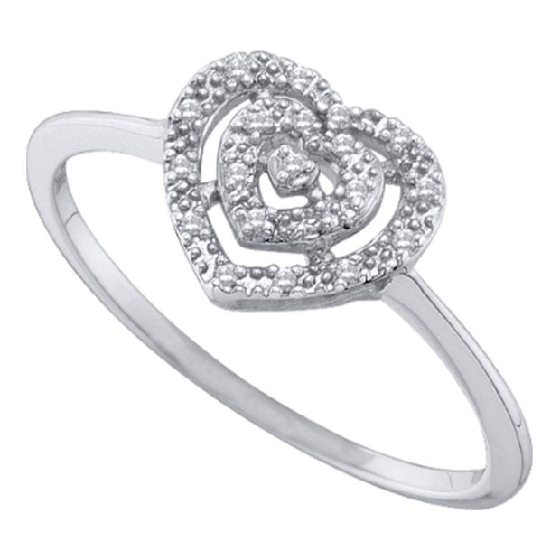 10kt White Gold Womens Round Diamond Slender Heart Cluster Ring 1/20 Cttw