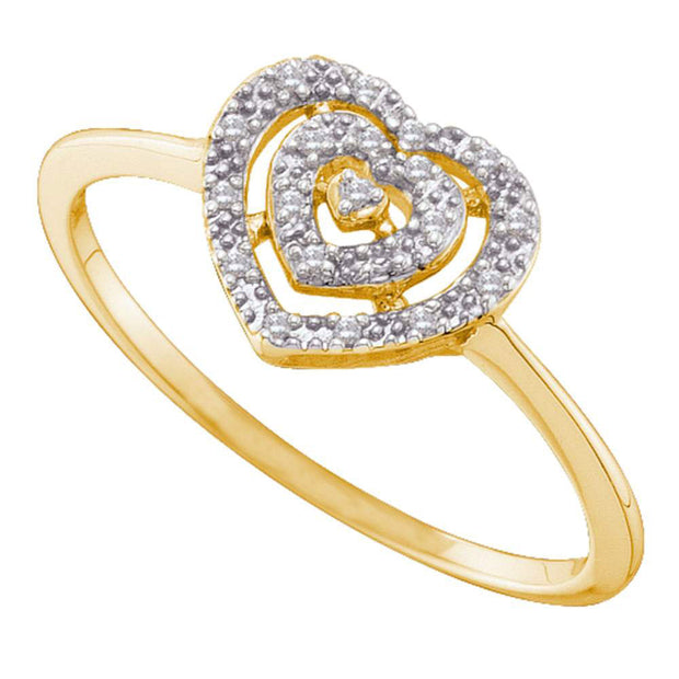 10kt Yellow Gold Womens Round Diamond Slender Heart Cluster Ring 1/20 Cttw