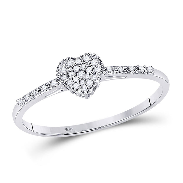10kt White Gold Womens Round Diamond Slender Dainty Heart Ring 1/12 Cttw