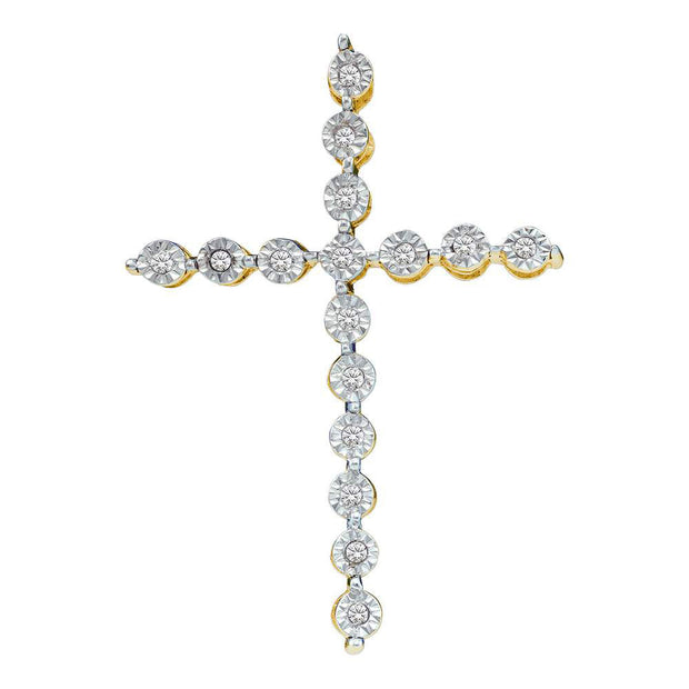 Yellow-tone Sterling Silver Womens Round Diamond Paternoster Cross Pendant 1/8 Cttw