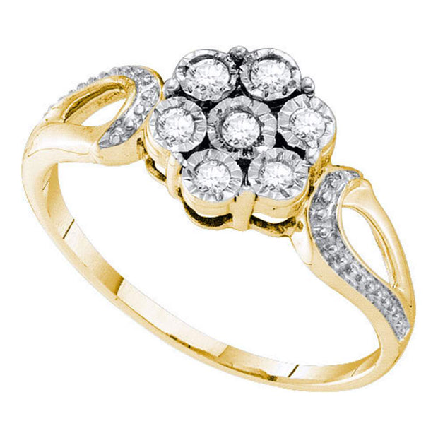Yellow-tone Sterling Silver Womens Round Diamond Illusion-set Flower Cluster Ring 1/8 Cttw