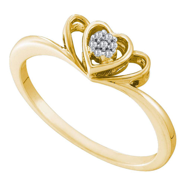10kt Yellow Gold Womens Round Diamond Small Triple Heart Cluster Ring .03 Cttw