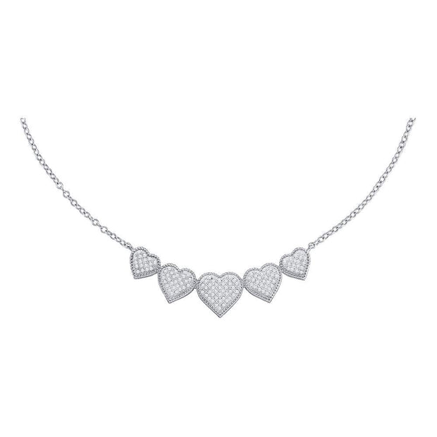 10kt White Gold Womens Round Diamond Heart Pendant Necklace 1/3 Cttw