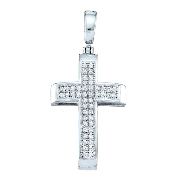 Sterling Silver Womens Round Pave-set Diamond Cross Pendant 1/6 Cttw