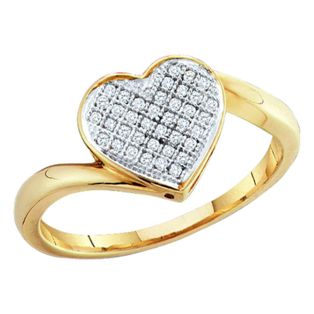 Yellow-tone Sterling Silver Womens Round Diamond Heart Cluster Ring 1/20 Cttw