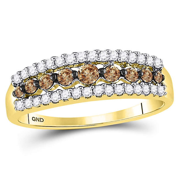 10kt Yellow Gold Womens Round Brown Diamond Triple Row Band Ring 1/2 Cttw
