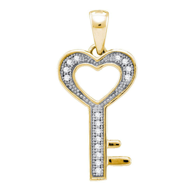Yellow-tone Sterling Silver Womens Round Diamond Key Love Pendant 1/20 Cttw