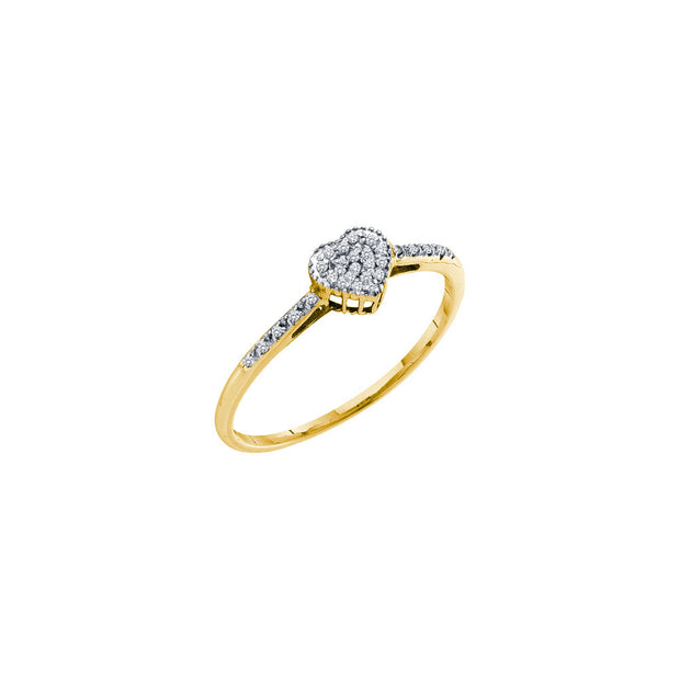 14kt Yellow Gold Womens Round Diamond Slender Heart Cluster Ring 1/12 Cttw