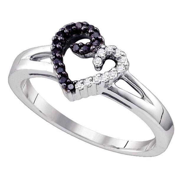 Sterling Silver Womens Round Black Color Enhanced Diamond Split-shank Heart Ring 1/6 Cttw