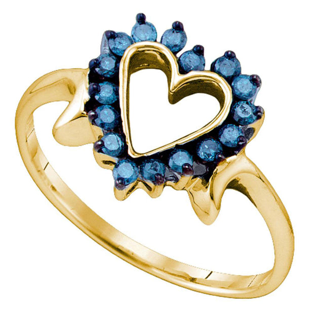 10kt Yellow Gold Womens Round Blue Color Enhanced Diamond Heart Ring 1/4 Cttw