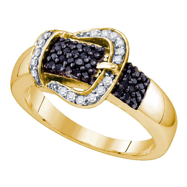 Yellow-tone Sterling Silver Womens Round Black Color Enhanced Diamond Band Ring 1/3 Cttw