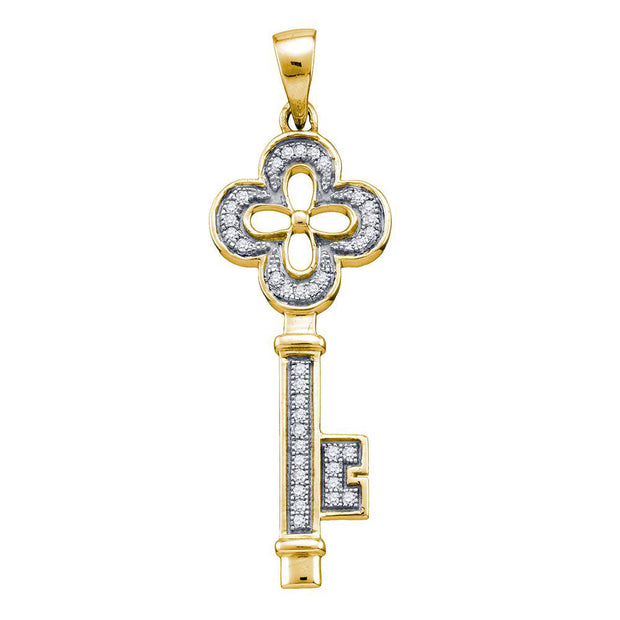 Yellow-tone Sterling Silver Womens Round Diamond Key Love Pendant 1/8 Cttw
