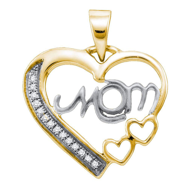Sterling Silver White Diamond Mom Mothers Womens Heart Yellow-tone Pendant 1/20 Cttw
