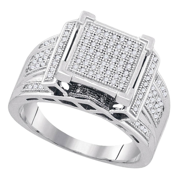 Sterling Silver Womens Round Diamond Square Cluster Ring 3/8 Cttw