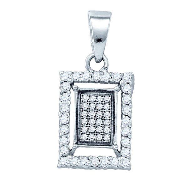 Sterling Silver Womens Round Diamond Rectangle Frame Cluster Pendant 3/8 Cttw