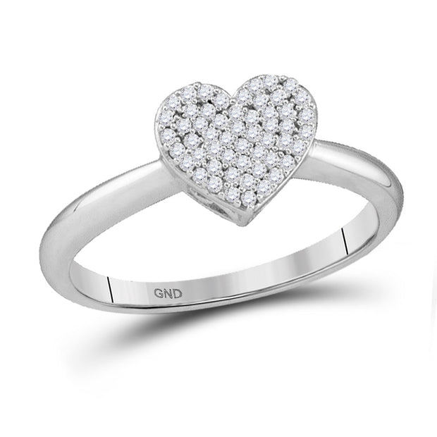 10kt White Gold Womens Round Diamond Heart Fashion Ring 1/6 Cttw