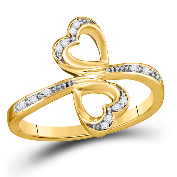 10kt Yellow Gold Womens Round Diamond Double Heart Bypass Ring 1/20 Cttw