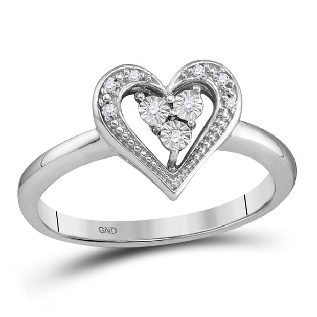 10kt White Gold Womens Round Diamond-accent Heart Cluster Ring .03 Cttw