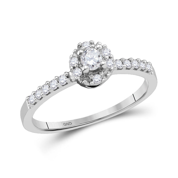 14kt White Gold Womens Round Diamond Solitaire Promise Bridal Ring 1/4 Cttw