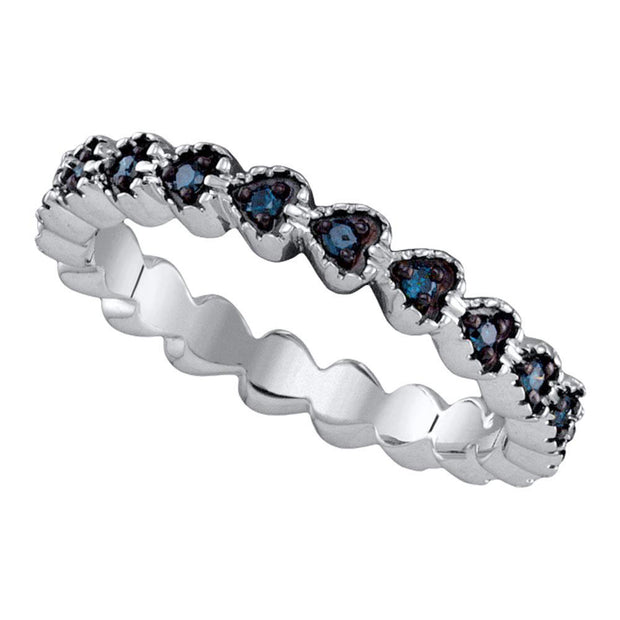 Sterling Silver Womens Round Blue Color Enhanced Diamond Single Row Heart Band 1/4 Cttw