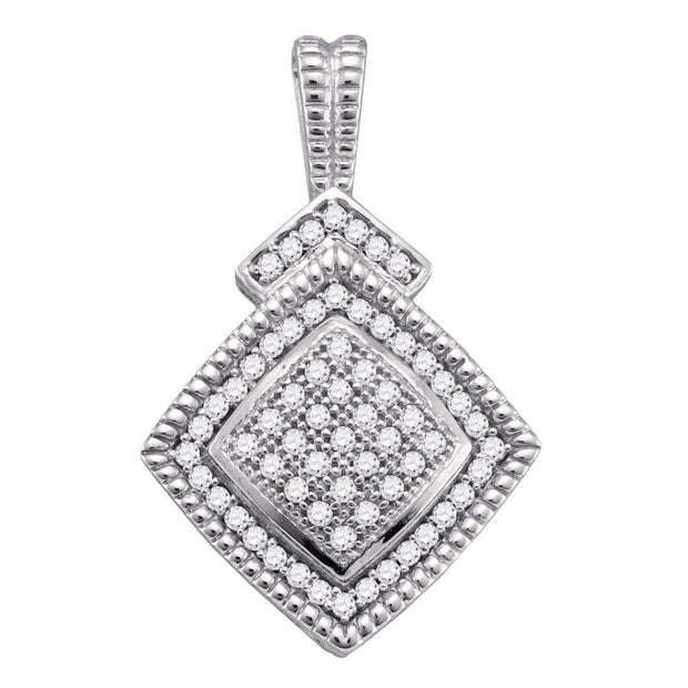 Sterling Silver Round Diamond Square-shape Womens Unique Pendant 1/5 Cttw