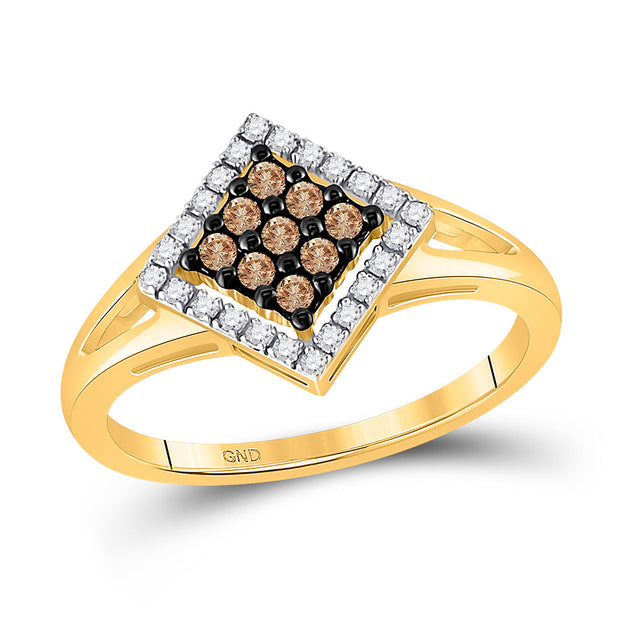 10kt Yellow Gold Womens Round Brown Diamond Square Cluster Ring 1/4 Cttw