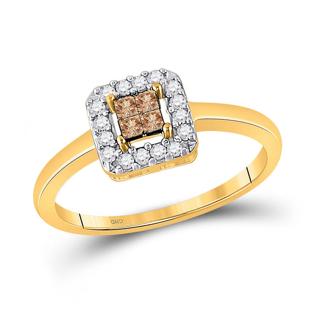 10kt Yellow Gold Womens Princess Brown Diamond Square Cluster Halo Ring 1/4 Cttw