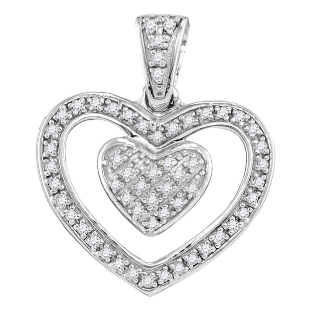 Sterling Silver Womens Round Diamond Double Nested Heart Pendant 1/10 Cttw