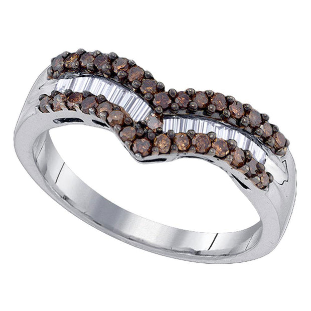 Sterling Silver Womens Round Brown Diamond Chevron Band Ring 1/2 Cttw