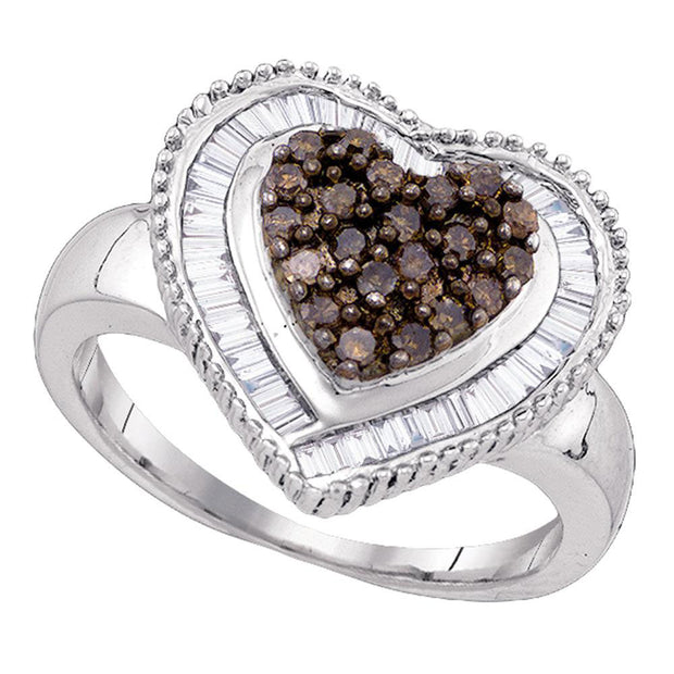 Sterling Silver Womens Round Brown Diamond Heart Cluster Ring 3/4 Cttw
