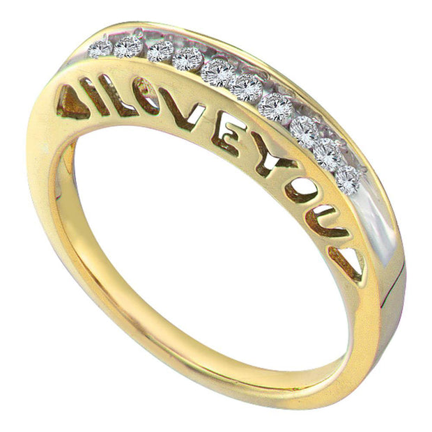 10kt Yellow Gold Womens Round Diamond I Love You Band 1/5 Cttw
