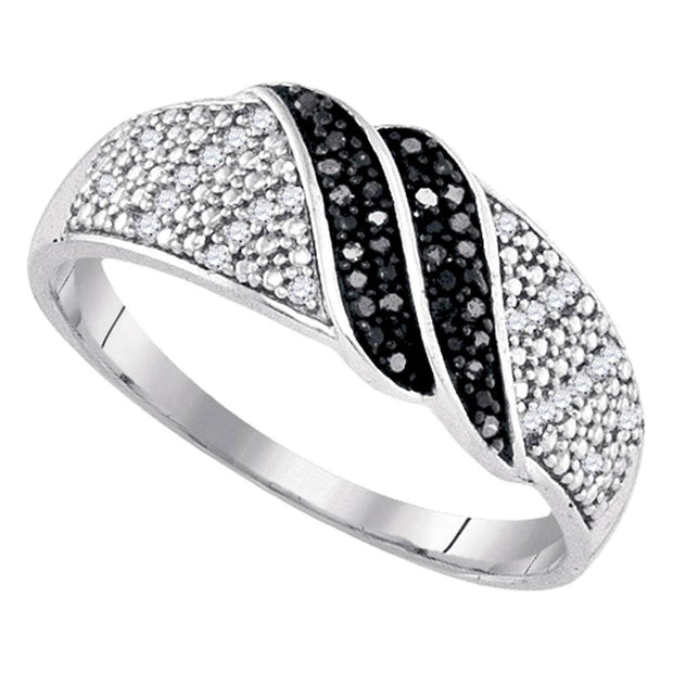 Sterling Silver Womens Round Black Color Enhanced Diamond Double Row Crossover Band 1/6 Cttw