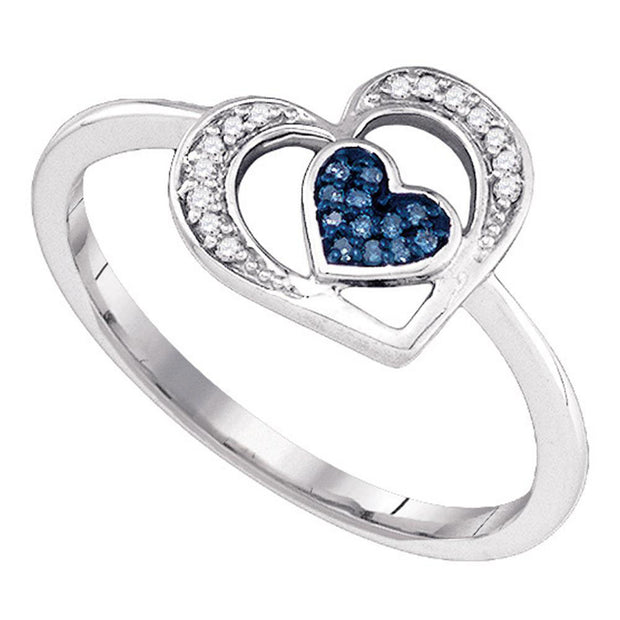 10kt White Gold Womens Round Blue Color Enhanced Diamond Heart Ring 1/20 Cttw