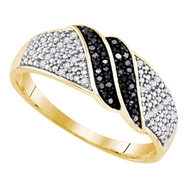 Yellow-tone Sterling Silver Womens Round Black Color Enhanced Diamond Double Stripe Band 1/6 Cttw